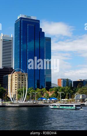 High Rise building and Elizabeth Quay, Perth, Western Australia - Stock Image