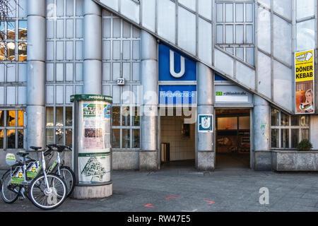 Berlin Kreuzberg Prinzenstrasse U-Bahn Underground railway station entrance. Serves U1 & U3 lines. - Stock Image