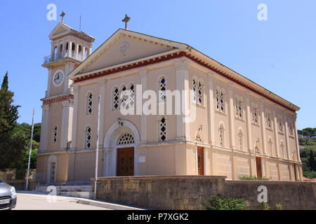 Church of the Assumption of the Virgin Mary (one the first to be re-built after the 1953 earthquake) in Kourkoumelata, Kefalonia, GREECE, PETER GRANT - Stock Image