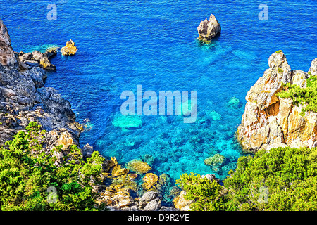 Cliffside coastline on Greek island Corfu - Stock Image