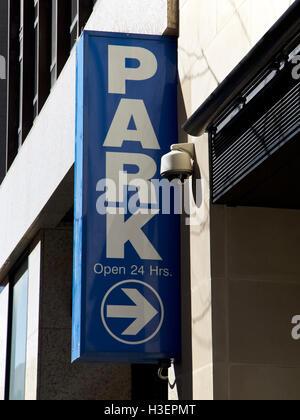 Parking garage sign, New York City, USA - Stock Image