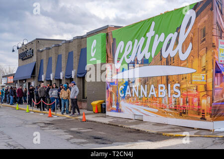 London, Ontario, Canada, 1st April, 2019. Customers line-up in front of Central Cannabis, the first London's pot shop to open in the city. Run by Corner Cannabis, the store opened its doors on 666 Wonderland Rd. North, and it is one of three stores that secured permission to open in London through a provincial lottery held in January. April 1st, 2019 marks the first day of legal marijuana sales in Ontario. London, Ontario, Canada. Credit: Rubens Alarcon/Alamy Live News - Stock Image