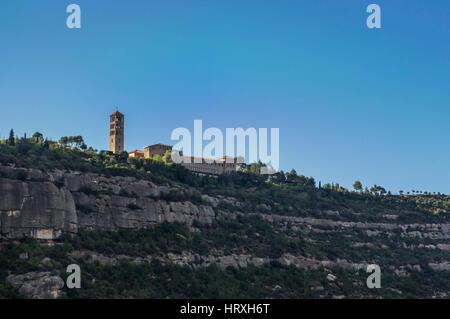 Benedictine nuns' monastery of Sant Benet de Montserrat. View from below of the church and buildings. Monistrol - Stock Image