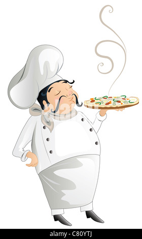 chef with pizza - Stock Image