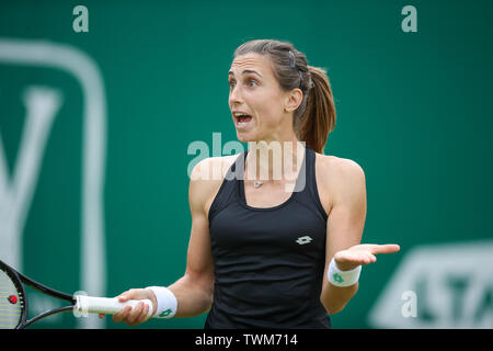 Edgbaston Priory Club, Birmingham, UK. 21st June, 2019. WTA Nature Valley Classic tennis tournament; Petra Martic (CRO) is frustrated and shows it talking to her coach in her quarterfinal match against Jelena Ostapenko (LAT) Credit: Action Plus Sports/Alamy Live News - Stock Image