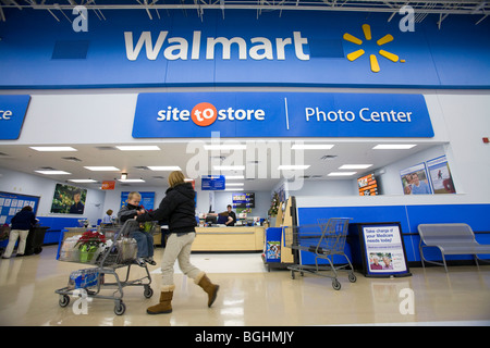 A scene inside a Walmart Supercenter in Arkansas, U.S.A. - Stock Image