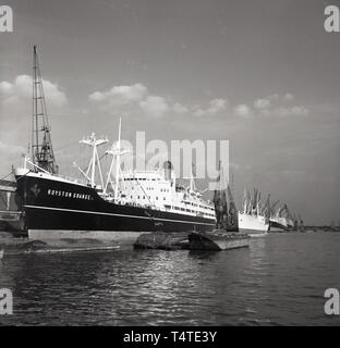 1960s, steam cruise ship, 'Royston Grange' moored at London Docks. - Stock Image