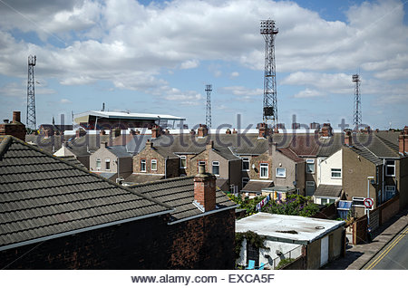 Houses next to Grimsby Town football club.  Photographed in Cleethorpes, Lincolnshire. - Stock Image
