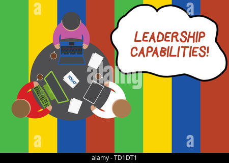 Conceptual hand writing showing Leadership Capabilities. Concept meaning Set of Perforanalysisce Expectations a Leader Competency Working table male e - Stock Image