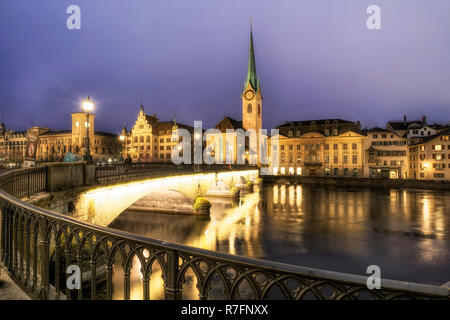 Zurich, river Limmat, switzerland - Stock Image