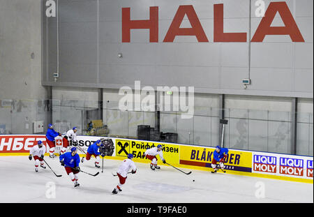 Bratislava, Slovakia. 18th May, 2019. Czech national team (hockey players) attend a training session of the Czech national team within the 2019 IIHF World Championship in Bratislava, Slovakia, on May 18, 2019. Credit: Vit Simanek/CTK Photo/Alamy Live News - Stock Image