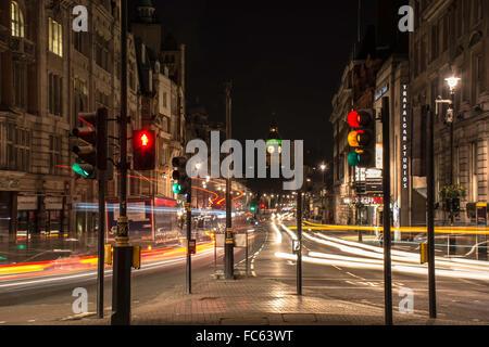 Light Trails along Whitehall - Stock Image