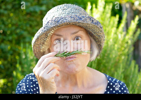 Older woman with straw hat on a sunny summer afternoon in her garden using a rosemary twig as a false mustache, - Stock Image