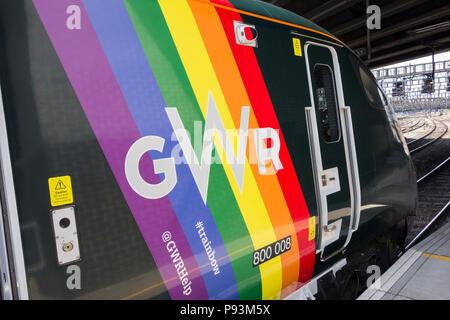 Pride rainbow colours on a Hitachi Class 800 Intercity Express Train at Paddington Station, London, UK - Stock Image
