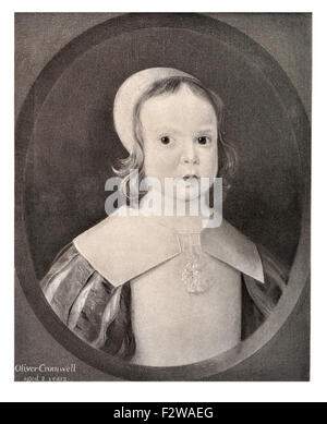 Oliver Cromwell two 2 years child baby infant English military political leader Lord Protector Commonwealth England - Stock Image