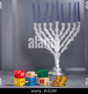 The Religious symbols of Jewish holiday Hanukkah. - Stock Image