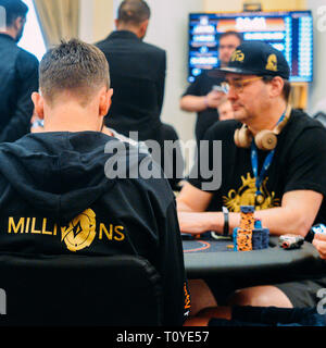Rio de Janeiro, Brazil - March 21st, 2019: 15-time WSOP bracelet winner and 'Poker Brat', Phil Helmuth at the Main Event of the PartyPoker LIVE MILLIONS South America 2019 occuring at the luxurious Copacabana Palace Belmond Hotel in Rio de Janeiro, Brazil from March 15th through March 24th, 2019. Credit: Alexandre Rotenberg/Alamy Live News - Stock Image