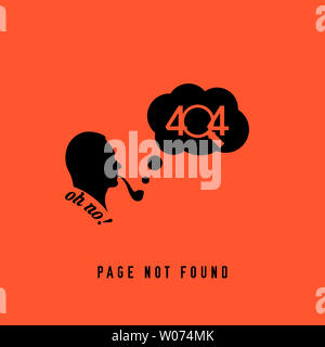 404 Page not Found Design Template. Sherlock Holmes Smoking a Pipe. 404 Error Page Concept. Link to Non-Existing Domain. Illustration - Stock Image