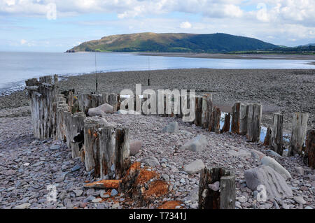 Remains of the wooden breakwater at Porlock Weir looking across Porlock bay to Hurlstone Point and  Bossington Hill . Somerset. England.UK - Stock Image