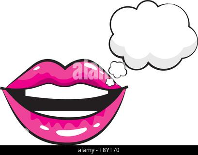 mouth woman with speech bubbles pop art comic cartoon - Stock Image