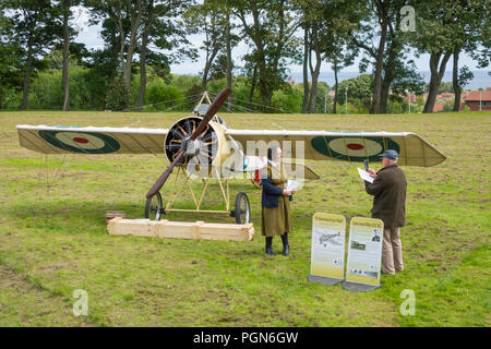 A 1916 Morane-Saulnier Type N 'Bullet' fighter plane flown by Royal Flying Corps No. 60 Squadron in France on display at Ryhope Tyne and Wear England - Stock Image