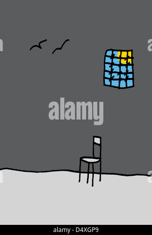 Surreal illustration with birds, empty chair and window with bars. - Stock Image