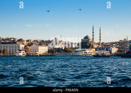 A beautiful view of the Golden Horn and the New Mosque at sunset, Istanbul, Turkey - Stock Image