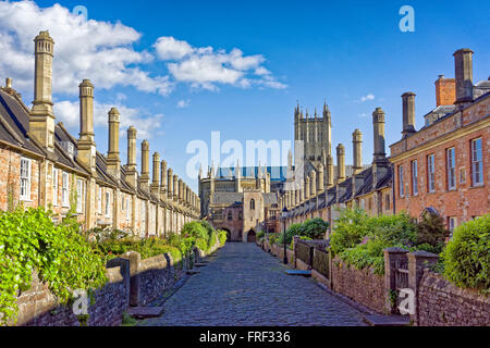 Vicar's Close, Wells Cathedral, Somerset, England - Stock Image