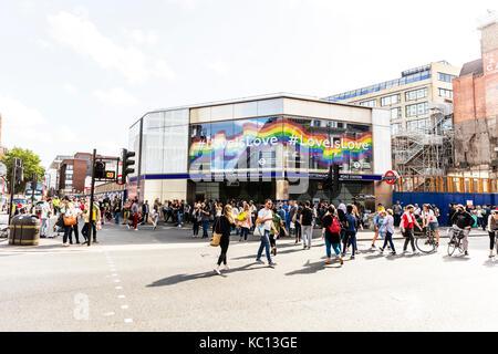 Tottenham Court Road Station, Tottenham Court Road London Underground Station, Tottenham Court Road Station London - Stock Image