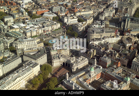 Aerial view of Trafalgar Square, Admiralty Arch and the front of the National Gallery - Stock Image