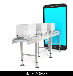 Conveyor with white cardboard Boxes connected to Smartphone. 3d Render. Blue Screen, Blank for Copy Space. - Stock Image