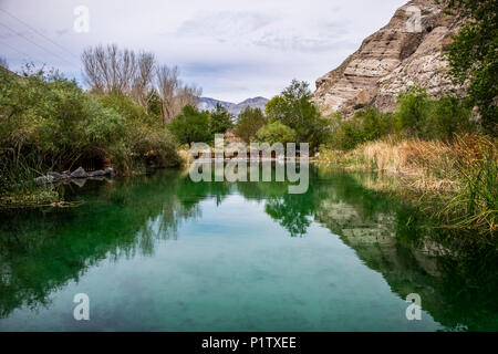 A pond in Whitewater Preserve; Whitewater, California, United States of America - Stock Image