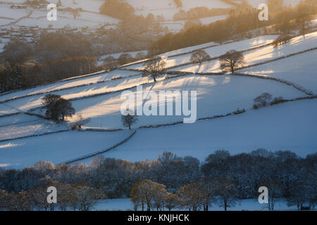 Paxton's Tower. UK. 11th December, 2017. Looking across a snow covered landsape at sunset, bare trees casting - Stock Image