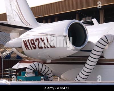 Business jet at Asian Aerospace Changi Exhibition Centre Singapore - Stock Image