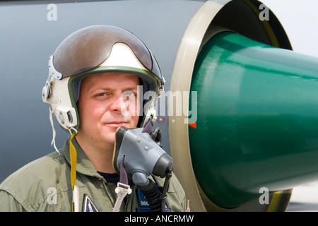Croatian Air Force MiG-21 BISD fighter pilot portrait - Stock Image
