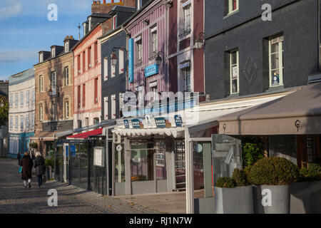 A shopping street in old Honfleur, France. - Stock Image