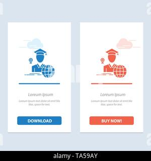 Graduation, Avatar, Graduate, Scholar  Blue and Red Download and Buy Now web Widget Card Template - Stock Image
