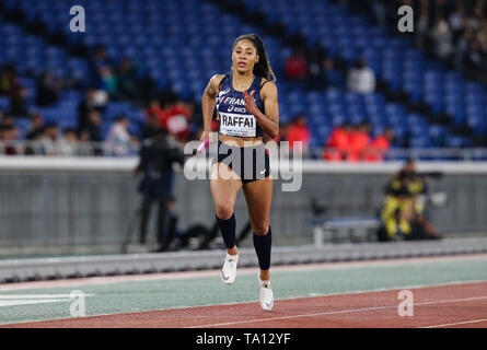 YOKOHAMA, JAPAN - MAY 12: Estelle Raffai of France in the women's 4x200m final during Day 2 of the 2019 IAAF World Relay Championships at the Nissan Stadium on Sunday May 12, 2019 in Yokohama, Japan. (Photo by Roger Sedres for the IAAF) - Stock Image