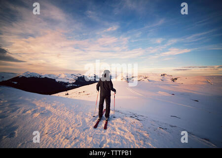 Rear view of skier standing on snowcapped mountain - Stock Image