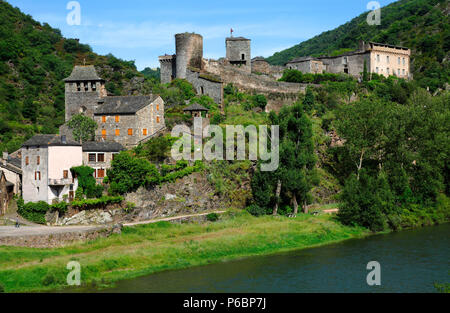 France, Occitanie, Aveyron department (12), Brousse le Chateau (most beautiful village of France) - Stock Image