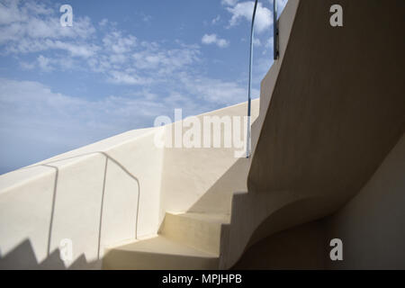 Cyclades - White stairway in sun and shadow. - Stock Image