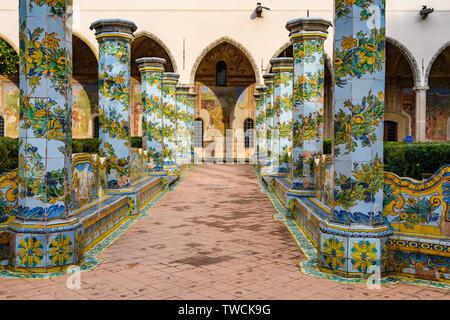 Garden of Santa Clara Monastery in the Old Town of Naples, Italy - Stock Image