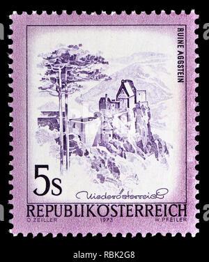 Austrian definitive postage stamp (1973) : Ruine Aggstein / Aggstein Castle ruins, Wachau - Stock Image