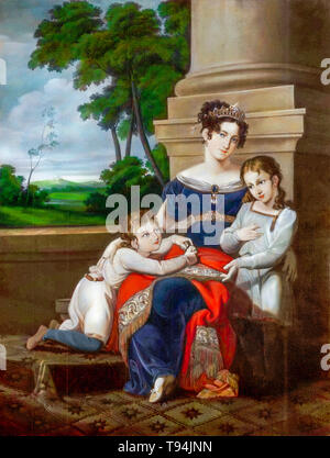 Louise of Saxe-Gotha-Altenburg, duchess of Saxe-Coburg and Gotha, with her children, Albert, future husband of Queen Victoria, and Ernest, future duke of Saxe-Coburg and Gotha, family portrait painting by Ludwig Döll, c. 1823 - Stock Image