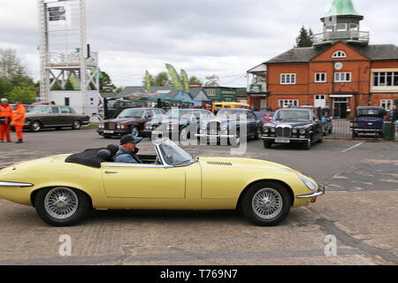 Jaguar E-Type S3 V12 Roadster (1975), British Marques Day, 28 April 2019, Brooklands Museum, Weybridge, Surrey, England, Great Britain, UK, Europe - Stock Image