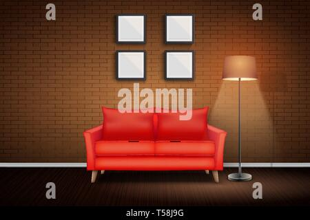 Interior of living room and loft. Red Sofa and Vintage floor lamp. Night scene and Light switch on. White bricks and wooden floor. Vector Illustration - Stock Image