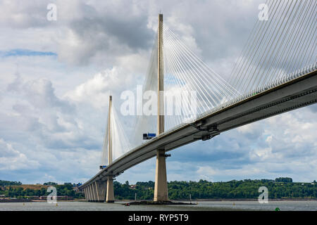 The Queensferry Crossing bridge from North Queensferry, Fife, Scotland, UK - Stock Image