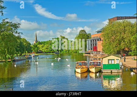 Stratford upon Avon and a summer scene down the River Avon towards Holy Trinity church. - Stock Image