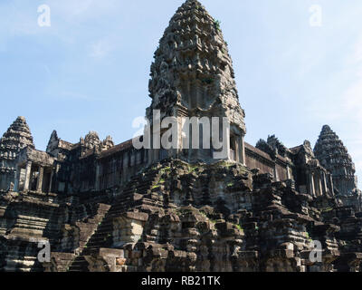One of magnificent ruined buildings of Angkor Wat Cambodia Asia an architectural masterpiece and largest religious monuments in the world - Stock Image