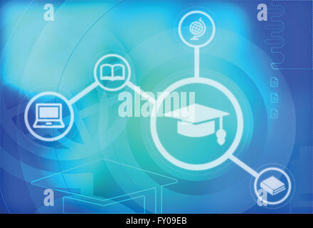 Illustration of online education concept - Stock Image